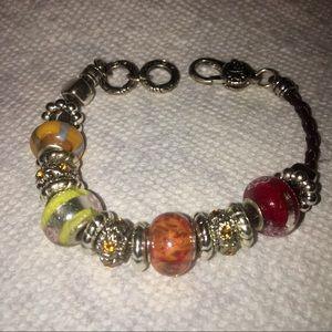 Leather Braided Bracelet W/Glass Beads